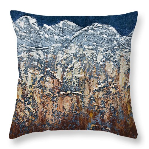 Art Throw Pillow featuring the mixed media Snow Capped by Mauro Celotti