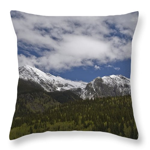 Silverton Throw Pillow featuring the photograph Snow Capped San Juans by Tim Mulina