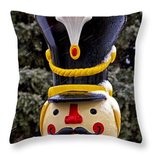 Bronner's Throw Pillow featuring the photograph Snow Coverd Toy Soldier by LeeAnn McLaneGoetz McLaneGoetzStudioLLCcom