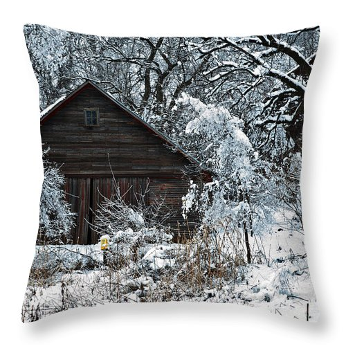 Barn Throw Pillow featuring the photograph Snow Covered Barn by Edward Peterson