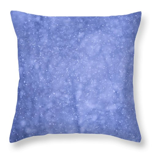 Snow Throw Pillow featuring the photograph Snow Falling In The Forest by John Burcham