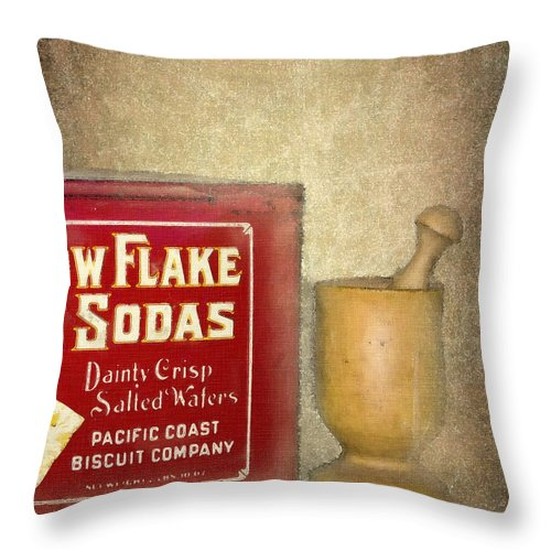 Crackers Throw Pillow featuring the photograph Snow Flake Soda Crackers by Betty LaRue