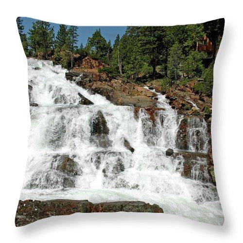 Usa Throw Pillow featuring the photograph Snow Melt Glen Alpine Falls by LeeAnn McLaneGoetz McLaneGoetzStudioLLCcom