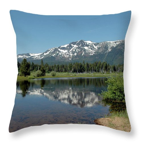 Usa Throw Pillow featuring the photograph Snow Reflections Mt Tallac by LeeAnn McLaneGoetz McLaneGoetzStudioLLCcom