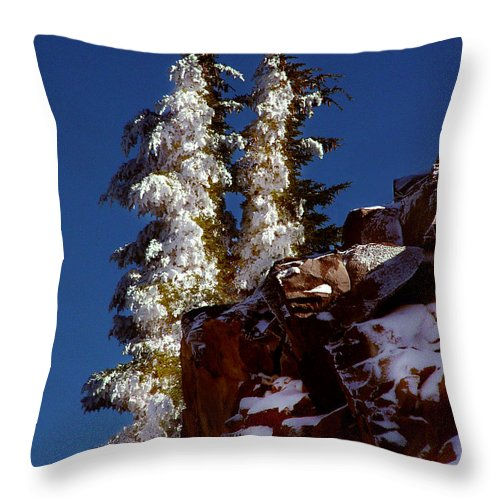 Snow Tipped Trees Throw Pillow featuring the photograph Snow Tipped Trees by Peter Piatt