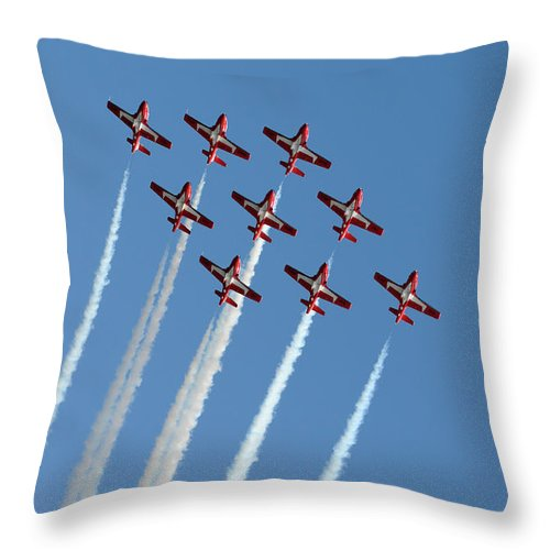 Snowbirds Throw Pillow featuring the photograph Snowbirds In The Big Diamond Formation by Vivian Christopher