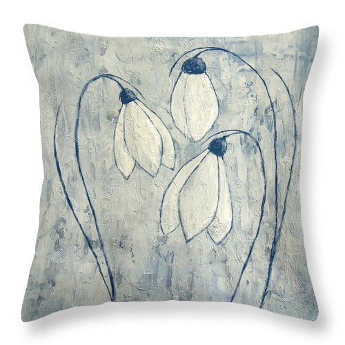 Snowdrop Throw Pillow featuring the painting Snowdrops by JG Keevil