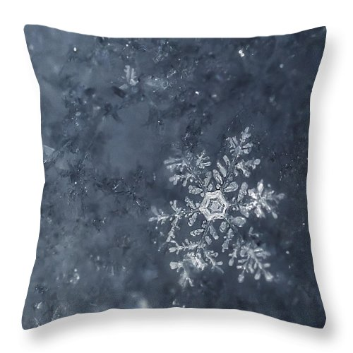 Snowflakes Throw Pillow featuring the photograph Snowflake In Blue by Beth Riser