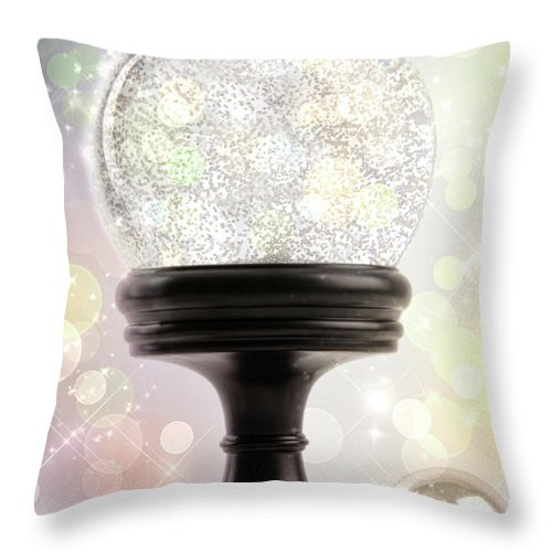 Background Throw Pillow featuring the photograph Snowglobe With Ornaments Against Colored Background by Sandra Cunningham