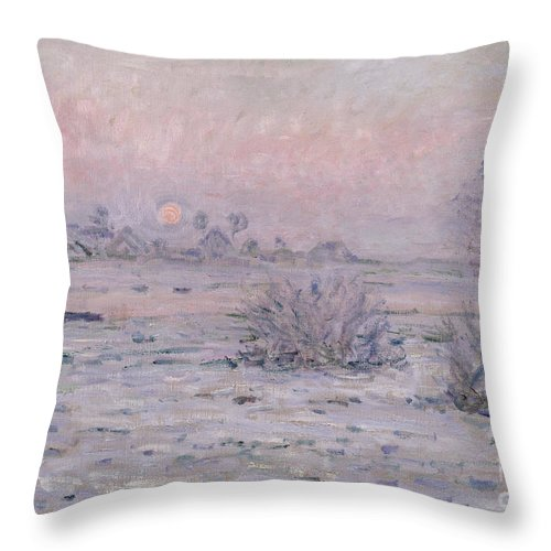 Claude Monet Throw Pillow featuring the painting Snowy Landscape At Twilight by Claude Monet