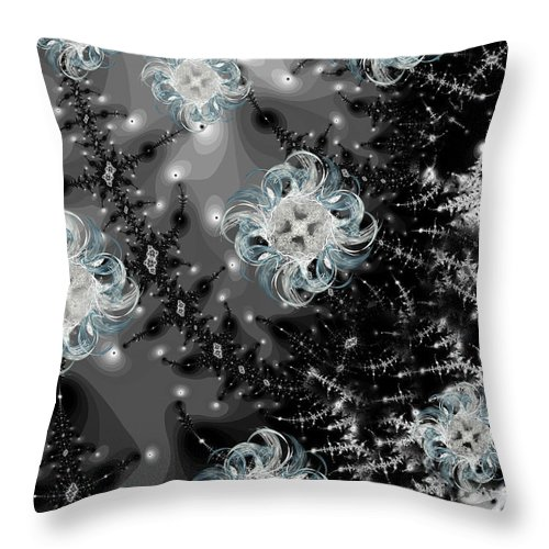 Fractal Throw Pillow featuring the digital art Snowy Night IIi Fractal by Betsy Knapp