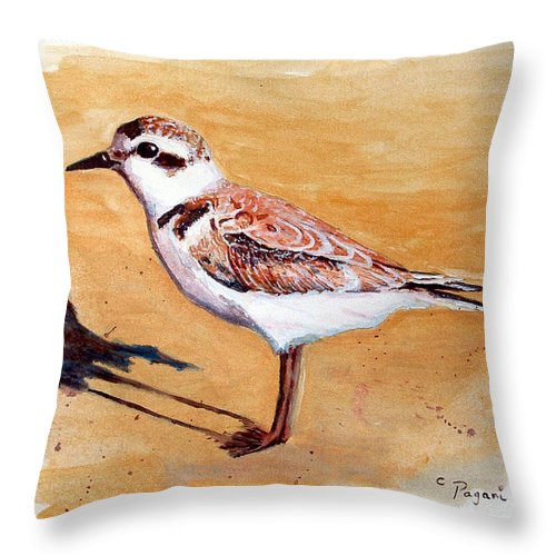Bird Throw Pillow featuring the painting Snowy Plover by Chriss Pagani