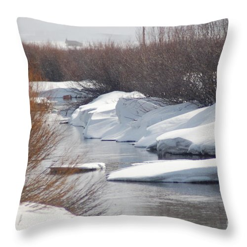Snow Throw Pillow featuring the photograph Snowy River by Lucy Bounds