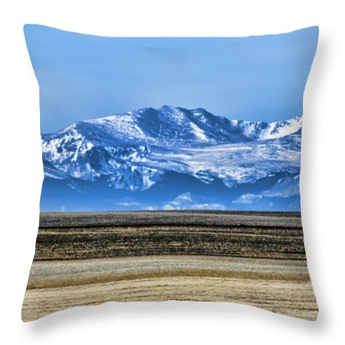 Rocky Mountains Throw Pillow featuring the photograph Snowy Rockies by Heather Applegate