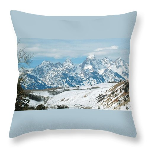 Snow Throw Pillow featuring the photograph Snowy Tetons by Lucy Bounds