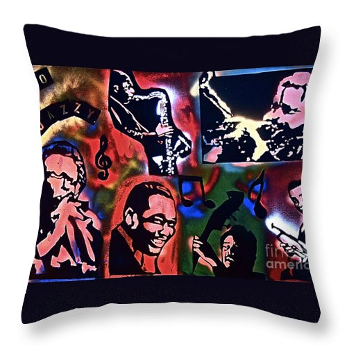 Jazz Throw Pillow featuring the painting So So Jazzy by Tony B Conscious