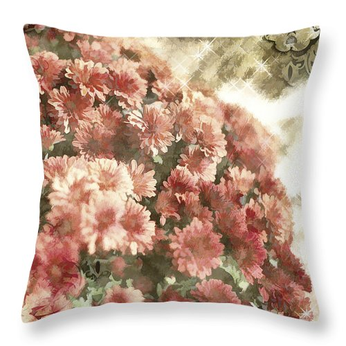 Soft Red Mums Throw Pillow featuring the photograph Soft Red Mums by Charrie Shockey