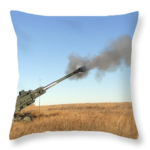 Battalion Throw Pillow featuring the photograph Soldiers Fire A 155mm M777 Lightweight by Stocktrek Images