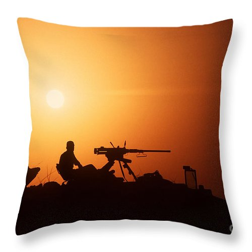 Horizontal Throw Pillow featuring the photograph Soldiers Set Up A Security Outpost by Stocktrek Images