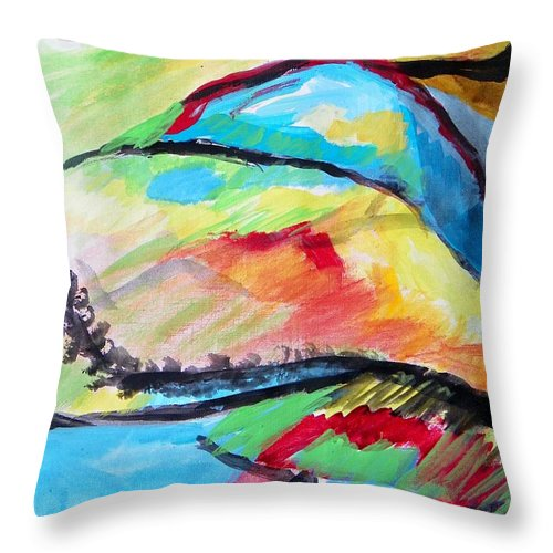 Abstract Throw Pillow featuring the painting Some Colors On A Hill by Judith Redman