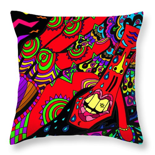 Sore Throw Pillow featuring the painting Somebody Pinch Me by Karen Elzinga