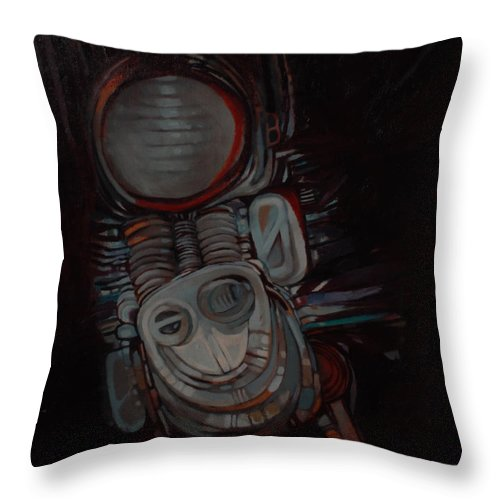 Something Throw Pillow featuring the painting Something by Mohamed Fadul