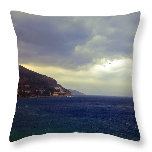 Seascape Throw Pillow featuring the photograph Somewhere Beyond The Sea 1 by Madeline Ellis
