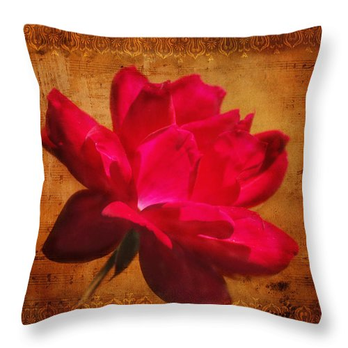Rose Throw Pillow featuring the photograph Song Of The Last Rose by Jai Johnson