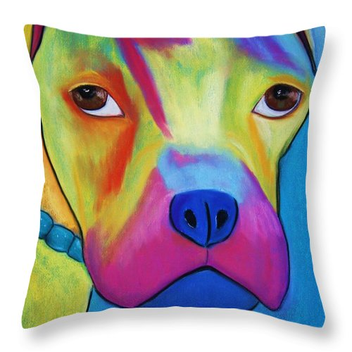 Dog Throw Pillow featuring the painting Sonny Blu by Melinda Etzold