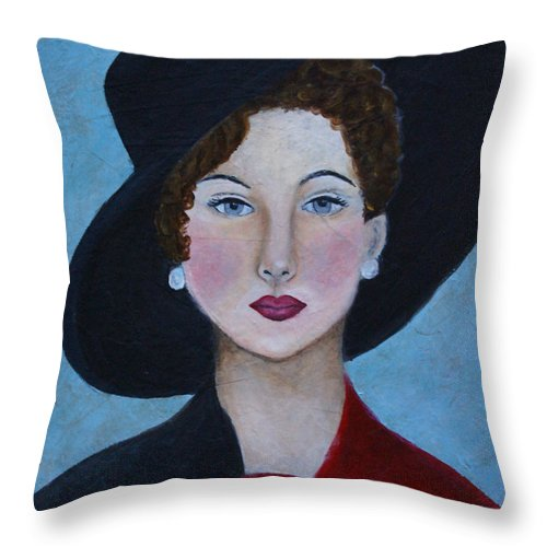 Lady In Hat Throw Pillow featuring the painting Sophia by The Art With A Heart By Charlotte Phillips
