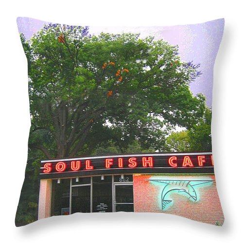 Restaurant Throw Pillow featuring the digital art Soul Fish by Lizi Beard-Ward