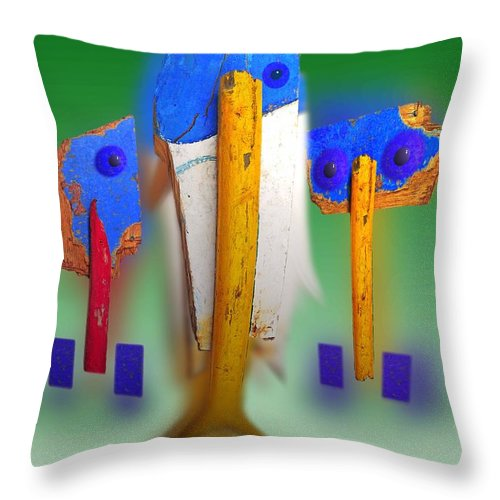Green Throw Pillow featuring the painting Soul Survivors by Charles Stuart