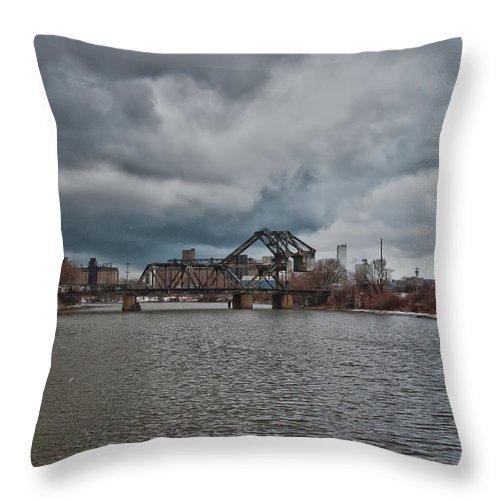 Railroad Throw Pillow featuring the photograph South Buffalo Rail Bridge by Guy Whiteley