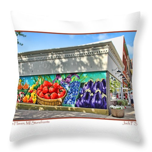 South Haven Michigan Throw Pillow featuring the photograph South Haven Storefronts by Jack Schultz