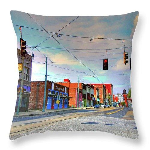South Main Street Throw Pillow featuring the photograph South Main Street Memphis by Lizi Beard-Ward