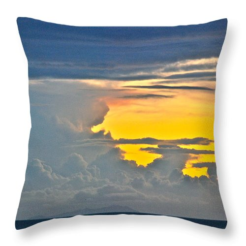 Sky Throw Pillow featuring the photograph South Seas Yellow by Eric Tressler