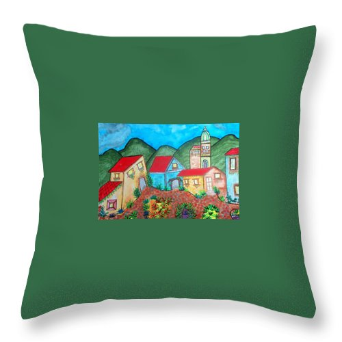 Southwest Village Throw Pillow featuring the painting Southwest Village by Connie Valasco