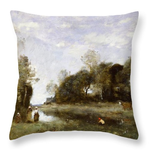 Souvenir Throw Pillow featuring the painting Souvenir Of The Bresle At Incheville by Jean Baptiste Camille Corot