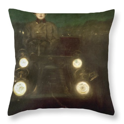 1909 Throw Pillow featuring the photograph Spain: Automobile, 1909 by Granger