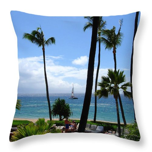 Palm Throw Pillow featuring the photograph Sparkling Sea At Kaanapali Maui by Connie Fox