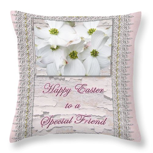 Easter Throw Pillow featuring the photograph Special Friend Easter Card - Flowering Dogwood by Mother Nature