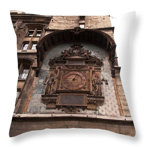 Clock Throw Pillow featuring the photograph Spending Time In Paris by Bob and Nancy Kendrick