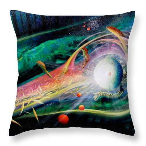 Sphere Throw Pillow featuring the painting Sphere Metaphysics by Drazen Pavlovic
