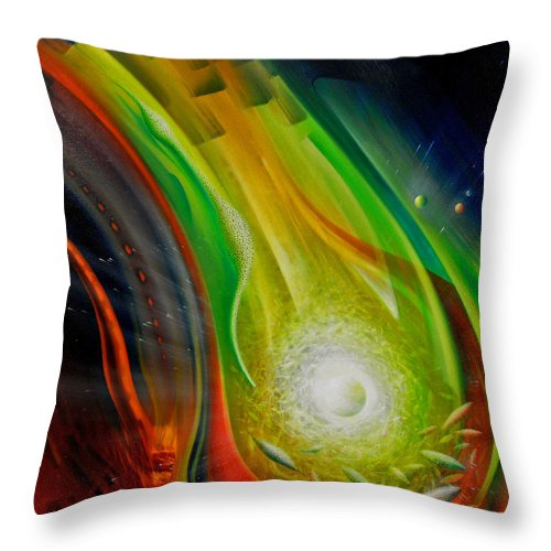 Sphere Throw Pillow featuring the painting Sphere Q72xl         by Drazen Pavlovic