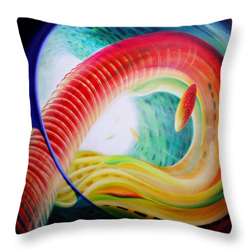 Microcosm Throw Pillow featuring the painting Sphere Serpula 2 by Drazen Pavlovic