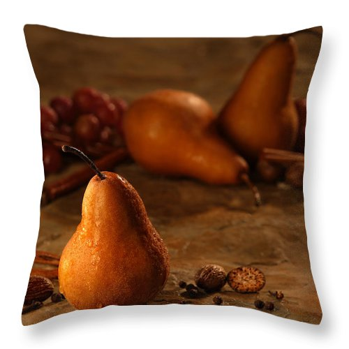 Amber Throw Pillow featuring the photograph Spiced Pears by Tamara Brown