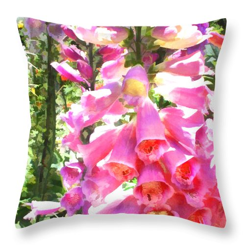 Flower Flowers Foxglove Garden Flora Digitalis Foxgloves Spike Spikes Spiky Floral Nature Natural Throw Pillow featuring the painting Spikes Of Pink Foxgloves by Elaine Plesser
