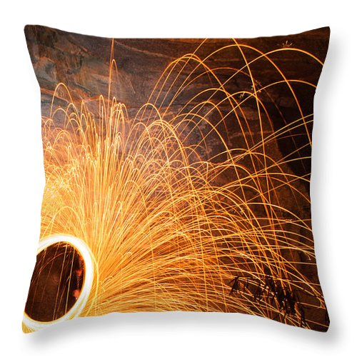 Abstract Throw Pillow featuring the photograph Spinning Fire by Joye Ardyn Durham