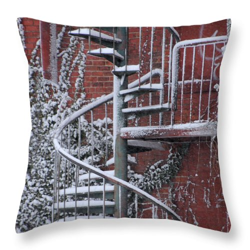 Staircase Throw Pillow featuring the photograph Spiral Staircase With Snow And Cooper's Hawk by Ronald Grogan