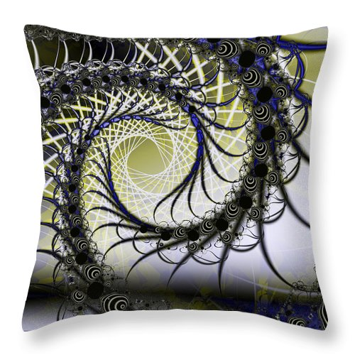 Fractal Throw Pillow featuring the digital art Spiral Web by Frederic Durville